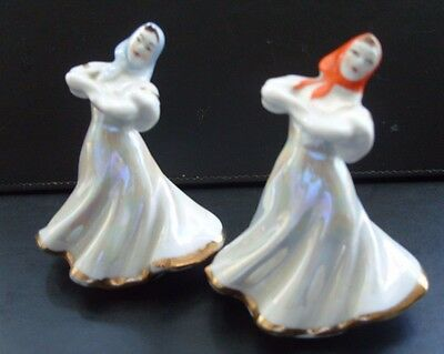 "Pair Vintage Porcelain 1960's USSR Dulevo Russian ""Dancing Girl"" Figurines"