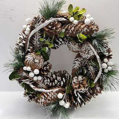 Christmas Door Wreath Ring Natural Cones Berries Xmas home Memorial XMA 0386
