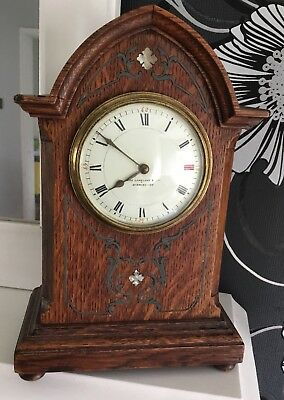 Arts and Crafts Solid Oak Mantle Clock