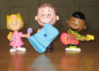 Lot of 3 Peanuts Characters Sally, RARE Franklin, Linus spinning blanket