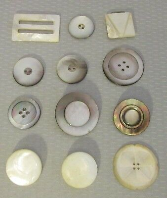 antique vtg 12P MOTHER OF PEARL BUTTONS large carved mop flower buckles