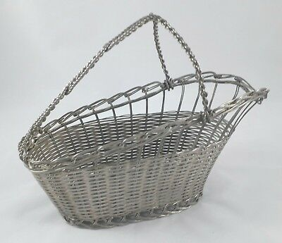 Superb Vintage Silver Plated Wine Bottle Holder Coaster Woven Wire Basket  Vgc