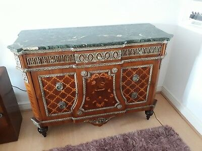 Antique French Louis XVI Style Marquetry Marble Top Commode Chest of Drawers