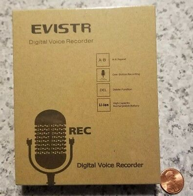 Evistr Digital Voice Recorder Rechargeable Battery New Sealed Free Shipping