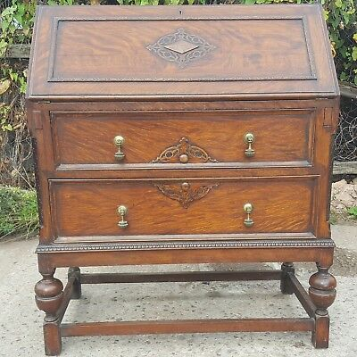 Antique Vintage Solid Oak Bureau