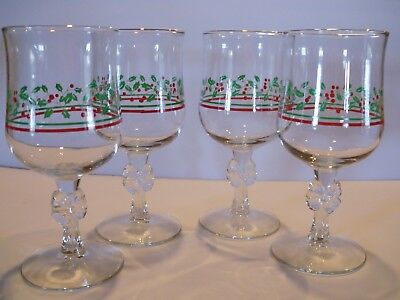 4 Vintage 1987 Arbys Christmas Holly Berry Glasses Wine Goblet w/Bows Libbey