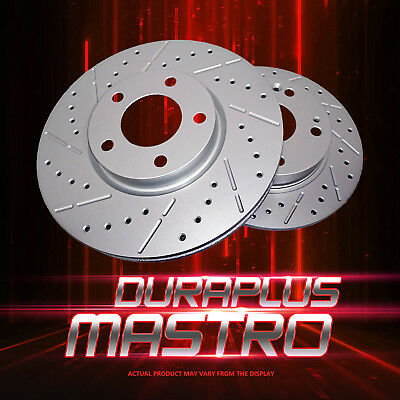 [Rear Coated Drill&Slot Brake Rotors Ceramic Pads] Fit 2012 Ram 1500 w/8 Lugs