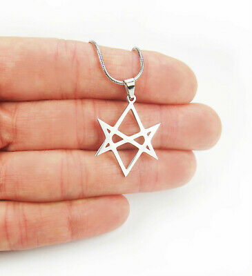 Unicursal Hexagram Necklace, Seven 7 Pointed Star, Stainless Steel Charm Pendant