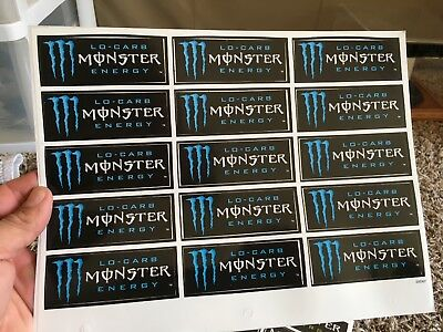 15 Pack Of monster Energy Lo-Carb Blue Stickers
