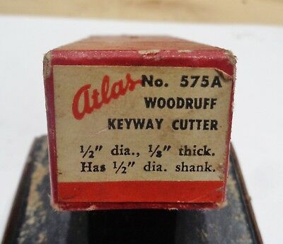 "Vintage Atlas No. 575A Woodruff Keyway Cutter 1/2"" dia. 1/8"" thick Has 1/2"" sha"