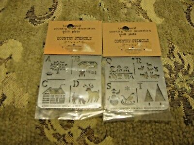 2 1988 Tin Stencil Country Wall Decoration Quilt Plate Mini House,deer,barn,Tree