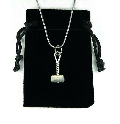 Small Thors Hammer Necklace, Mjolnir Thor Charm Pendant Viking Stainless chain