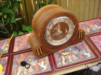 MAUTHE   8 Day Westminster Chimes  Mantle Clock  , Key & Pendulum