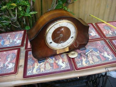 PERIVALE   8 Day Westminster Chimes  Mantle Clock  , Key & Pendulum