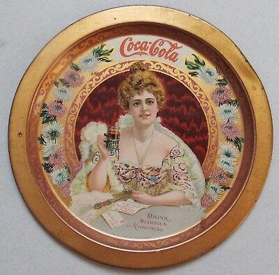 "Rare 1903 6"" Coca Cola Advertising Tip Tray ""hilda Clark"" Beautiful Colorful"