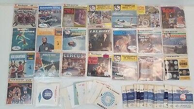 Vintage Viewmaster LOT of 100 Reels Sports Racing Circus Rodeo Misc.