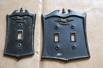 2 Vintage Eagle  Black Metal Light Switch Plate Covers Dilly Mfg