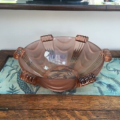 Vintage Art Deco Style Pink Frosted Glass Fruit Bowl with Scroll Tops - 25cm Dia