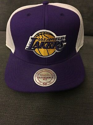LA Lakers Mitchell & Ness Cap Hat Snapback NBA Yellow Purple Hardwood Classics