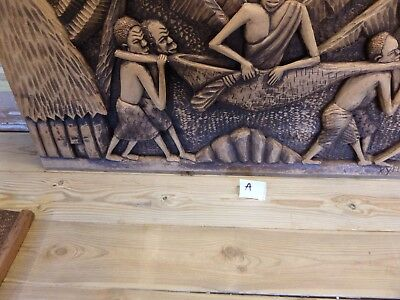African Carved Wood Plaque/picture