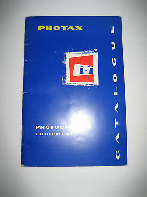 Photax Photographic Equipment Catalogue with Pictures and Prices 1958.