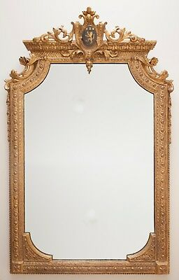 Antique 19th Century Giltwood Crested Mirror with Coat of Arms