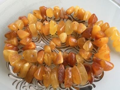 Natural Antique Baltic Vintage Amber OLD BUTTERSCOTCH  BEADS Necklace
