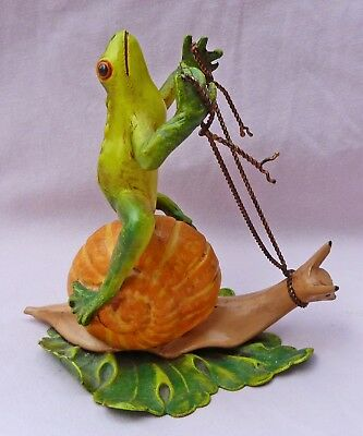 Petites Choses Frog Riding On A Snail Metal Figurine 4 Inch