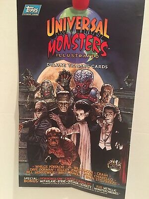 "1994 Universal Monsters Artwork 10.5"" x 17.5""  Topps Trading Cards Promo Poster"