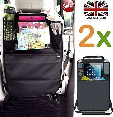 Car Back Seat Organiser Storage Bag Tablet iPad Holder Protector Kick Mat Kids