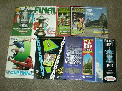 9 Fa Cup Final Programmes :'78, '80, '82 + Replay, '84, 86, 87, 88 & 89