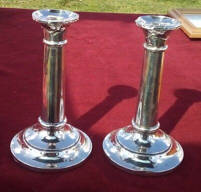 LARGE PAIR OF ANTIQUE SOLID SILVER CANDLESTICKS 7 Inches BIRMINGHAM 1919