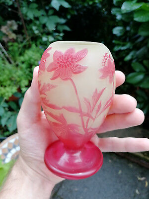 Gallé Vase - Jugendstil Glas Art Nouveau french cameo Daum Nancy