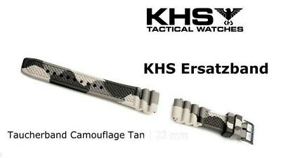 KHS Tactical Watches Diverband Camouflage Silikon Taucher Armband PVD black 22mm