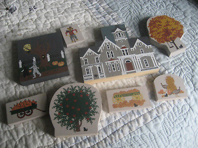 VINTAGE WOOD  CAT'S MEOW TWELVE  c1990's CHRISTMAS THANKSGIVING & HALLOWEEN