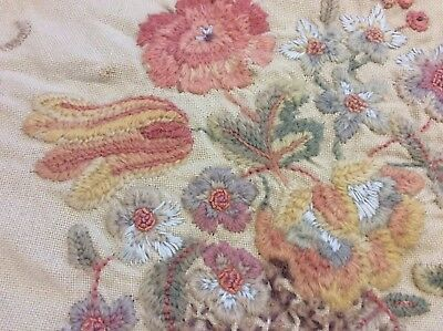 Vintage embroidered wool cushion cover & more modern crewel work shabby chic