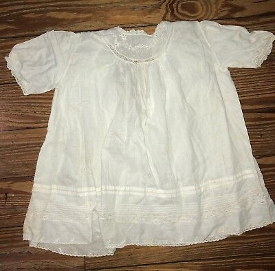 Vintage Child's Eclipse White Cotton Gown Dress 6 Months Lace