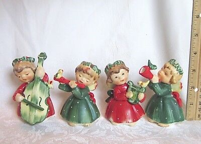 Lefton Christmas ANGELS Vintage Set of 4 Cello Harp Flute Horn Red and Green