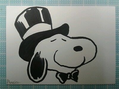 Peanuts Snoopy #9 ORIGINAL COLOR FAN ART Sketch card drawing comic dog walking