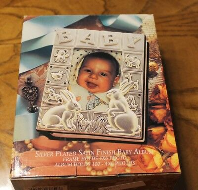Godinger Silver Plated Baby Photo Album for Bunny Rabbit Theme 4 In X 6 In