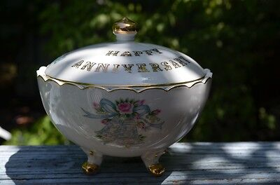 Three Footed Hand Painted Happy Anniversary Candy Dish By Lefton China