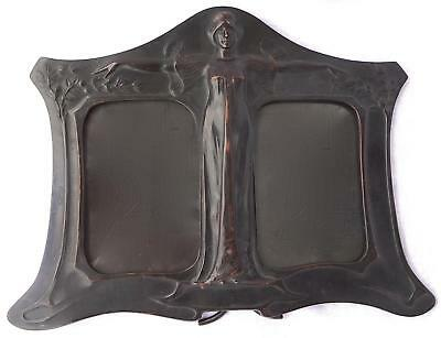 Outstanding Secessionist Art Nouveau Double Photo Frame: Maiden