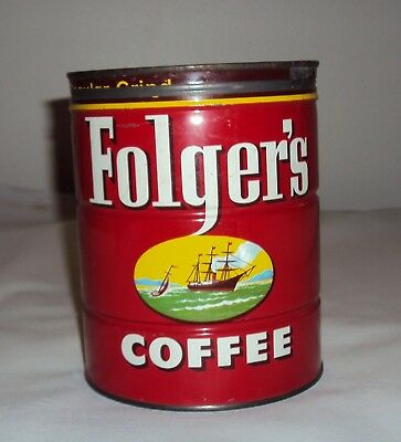 Vintage Folgers Key Wind Tin Can