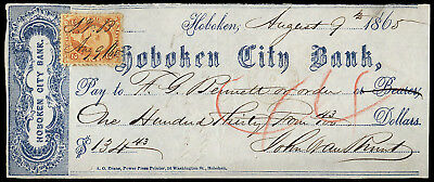 c199 2-cent revenue stamp on Aug. 1865 check Hoboken City Bank, blue printing