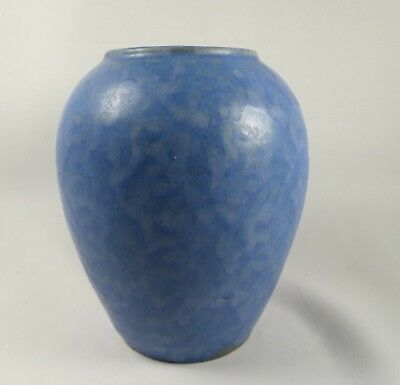 "Vtg. Antique BRUSH MCCOY POTTERY Blue VELLUM VASE Mottled Glaze 6 1/4"" x 5 1/4"""