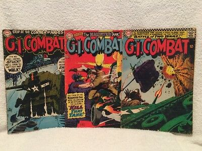 Lot x3 G.I. COMBAT #121, 127, 139 DC Silver Age 1967-1970 Haunted Tanker