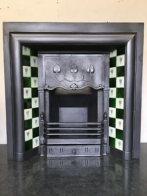 Original Restored Antique Cast Iron Art Nouveau Tiled Insert Fireplace (QP047)