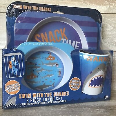 Swim with Sharks Plate Cup Bowl 3 Pc Lunch Set 6M+ Babies/Kids BPA FREE