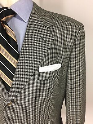 Canali Wool 3 Button Suit Gray White Black Micro Houndstooth 52 42 L 36 X 32