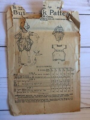 Antique Butterick Sewing Pattern #2227 Child's Rompers August 19,1919